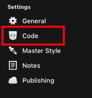 RapidweaverのCode設定画面