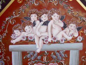 作品1−2(天使達のおしゃべりタイム) 天使拡大 およそ2ヶ月に渡って描き、中央の天使達のそれぞれ個性ある顔を描くのに 1ヶ月近く関わりました。 天使達の無邪気さや、あどけなさ、いたずらっぽさを感じてください。